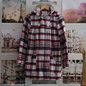 Hurley Plaid Double Breasted Babydoll Coat